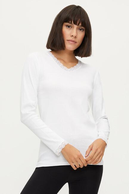 Bross - 1033 100% Cotton Lace Long Sleeved Women's Flannel