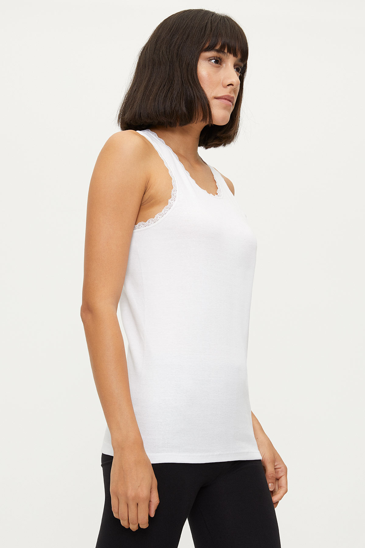 1034 100% Cotton Wide Strappy Lace Women's Undershirt - Thumbnail