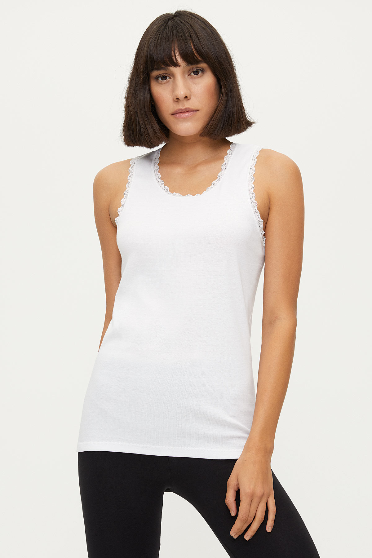 Bross - 1034 % 100 Baumwolle Wide Strappy Ladies Lacy Unterhemd