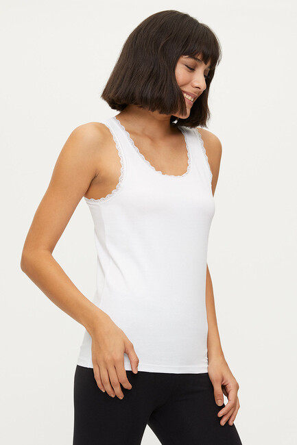 1102 Lycra Wide Strappy Lace Women's Undershirt - Thumbnail