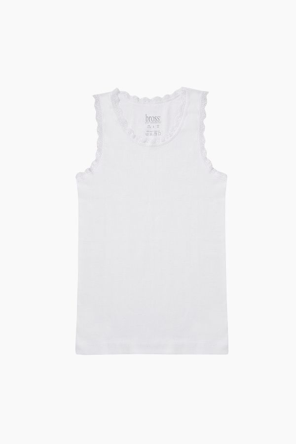 1134 Wide Strappy %100 Cotton Lacy Kids Undershirt