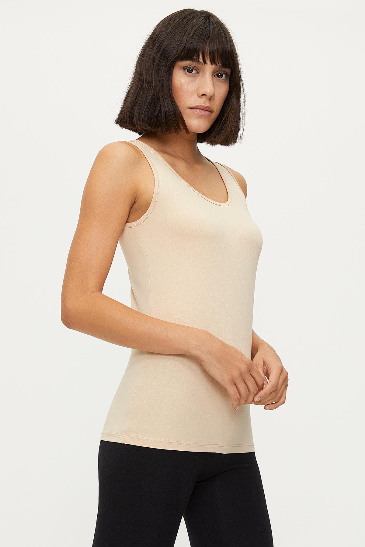 1247 Lycra Wide Strappy Women's Undershirt - Thumbnail