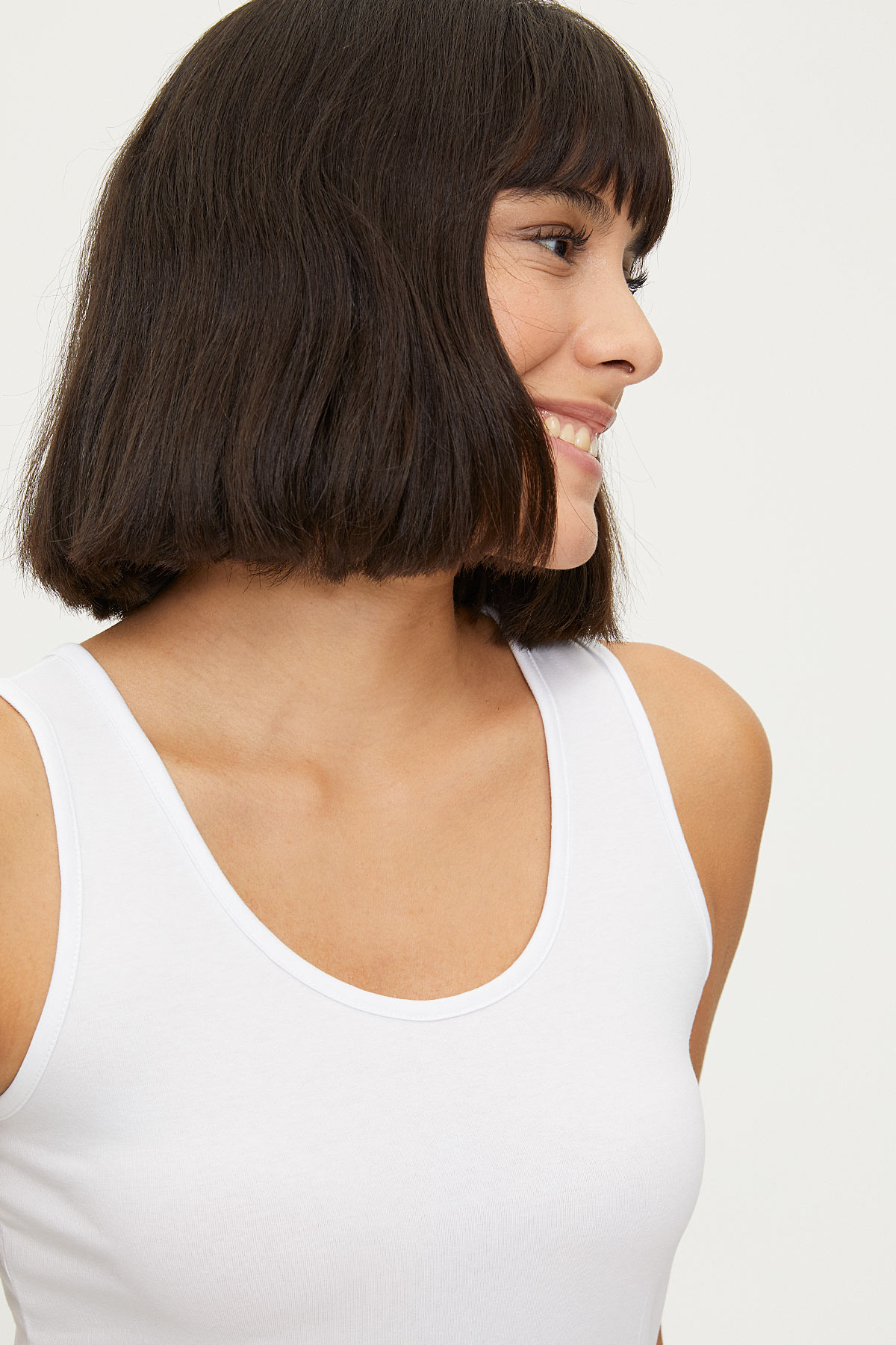 1247 Lycra Wide Strappy Ladies Undershirt - Thumbnail