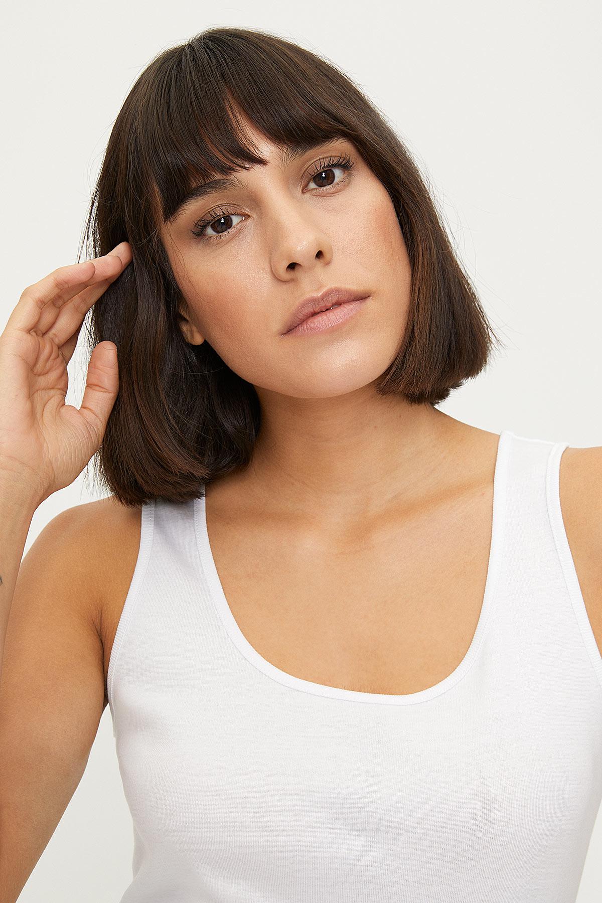 1249 100% Cotton Wide Strappy Women's Undershirt - Thumbnail