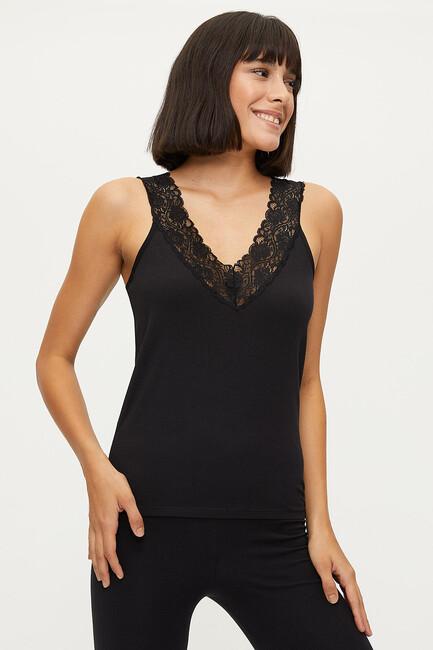 Bross - 1273 Lycra Wide Strappy Lacy Damen Unterhemd