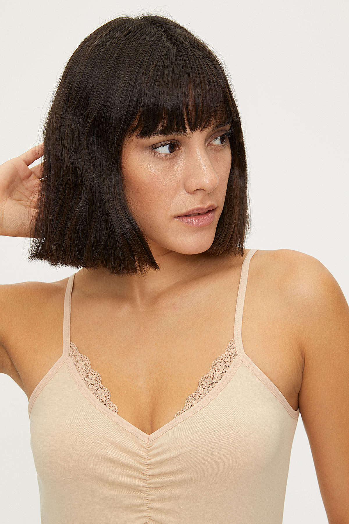 1275 Lycra Strappy Lacy Ladies Undershirt - Thumbnail