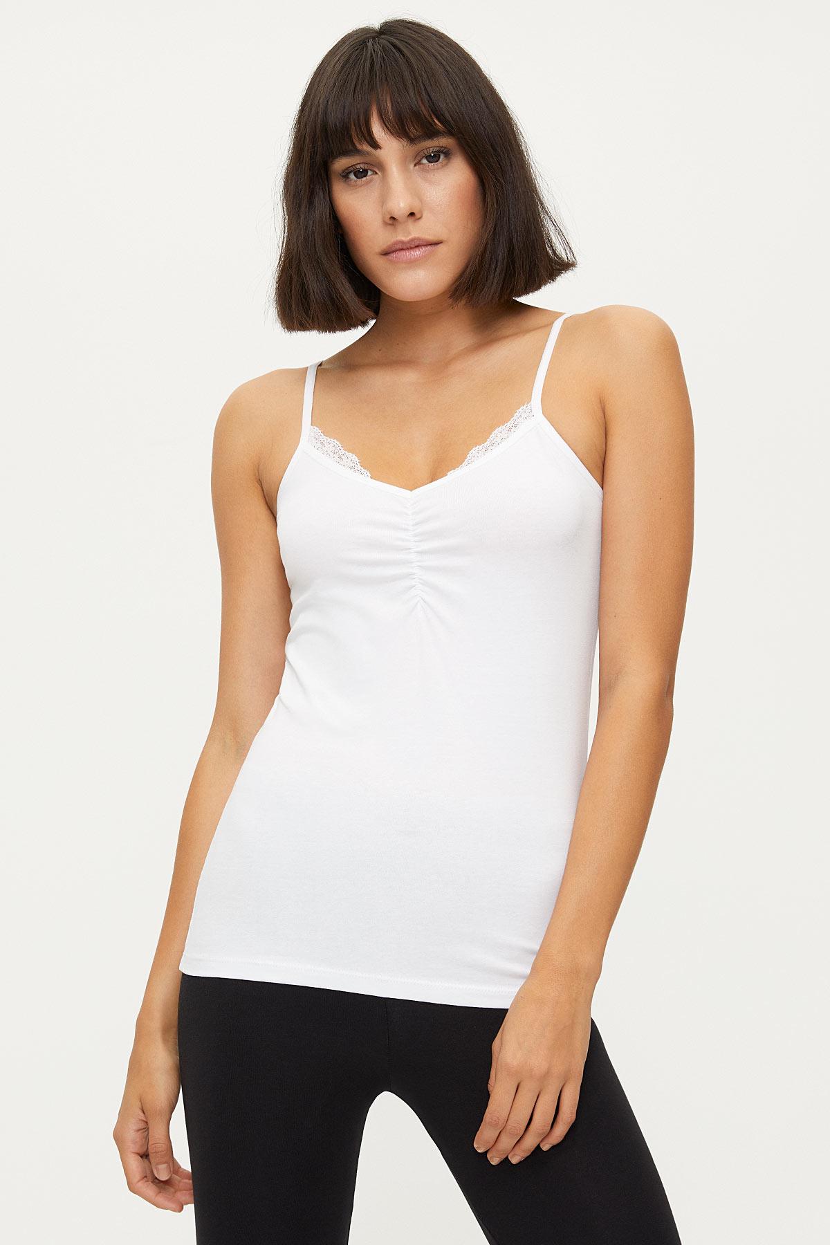 Bross - 1275 Lycra Strappy Lacy Damen Unterhemd