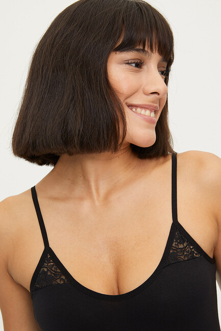1283 Lycra Strappy Lacy Ladies Undershirt - Thumbnail
