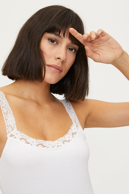 1286 Lycra Strappy Lacy Ladies Undershirt - Thumbnail