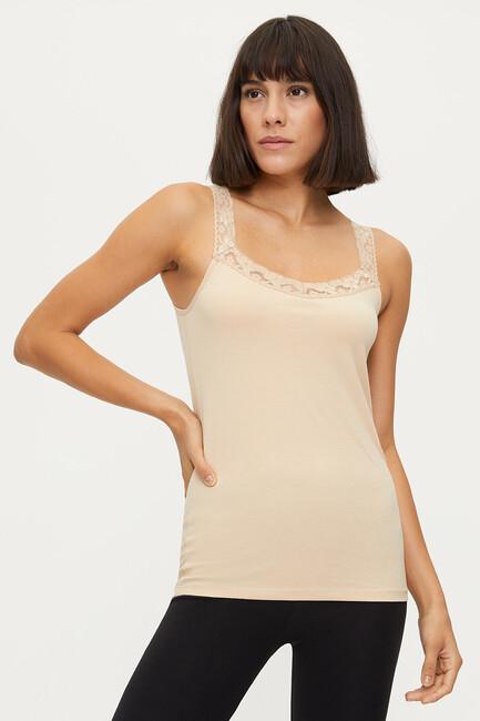 Bross - 1286 Lycra Strappy Lacy Damen Unterhemd