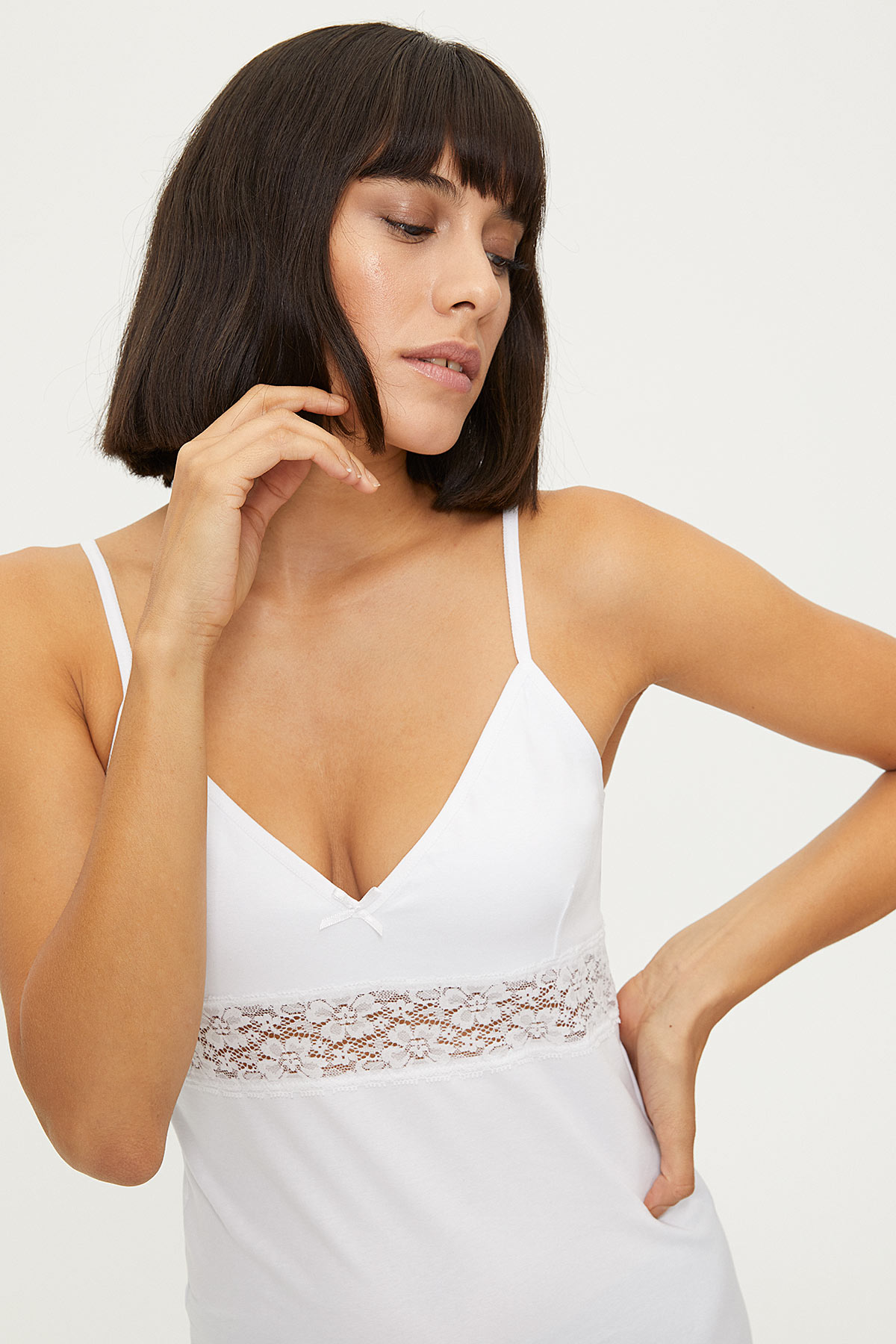 1287 Lycra Strappy Lacy Ladies Undershirt - Thumbnail