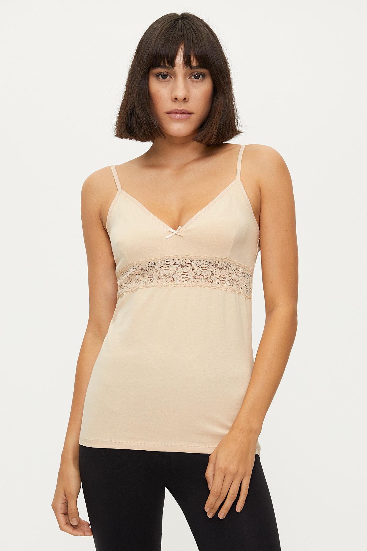 Bross - 1287 Lycra Strappy Lacy Damen Unterhemd