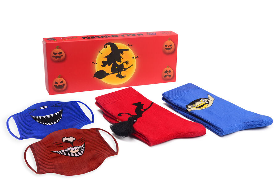 2-Pack Halloween Patterned Socks and Sock Mask Combine -3