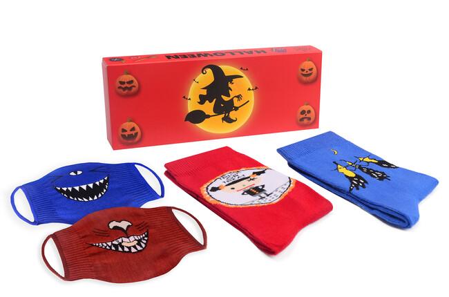 Bross - 2-Pack Halloween Patterned Socks and Sock Mask Combine -3