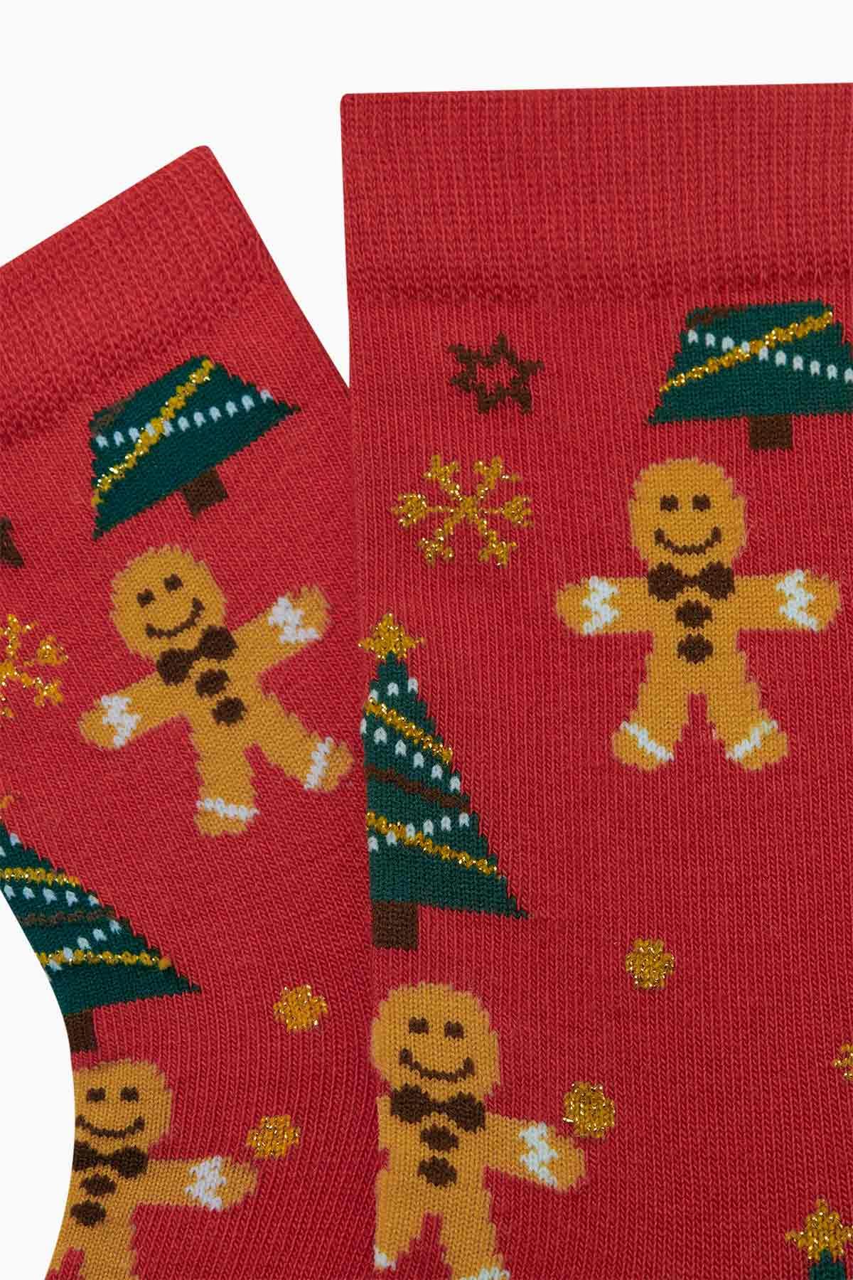 2'li Cookie Desenli Anne Çocuk Çorabı - Thumbnail