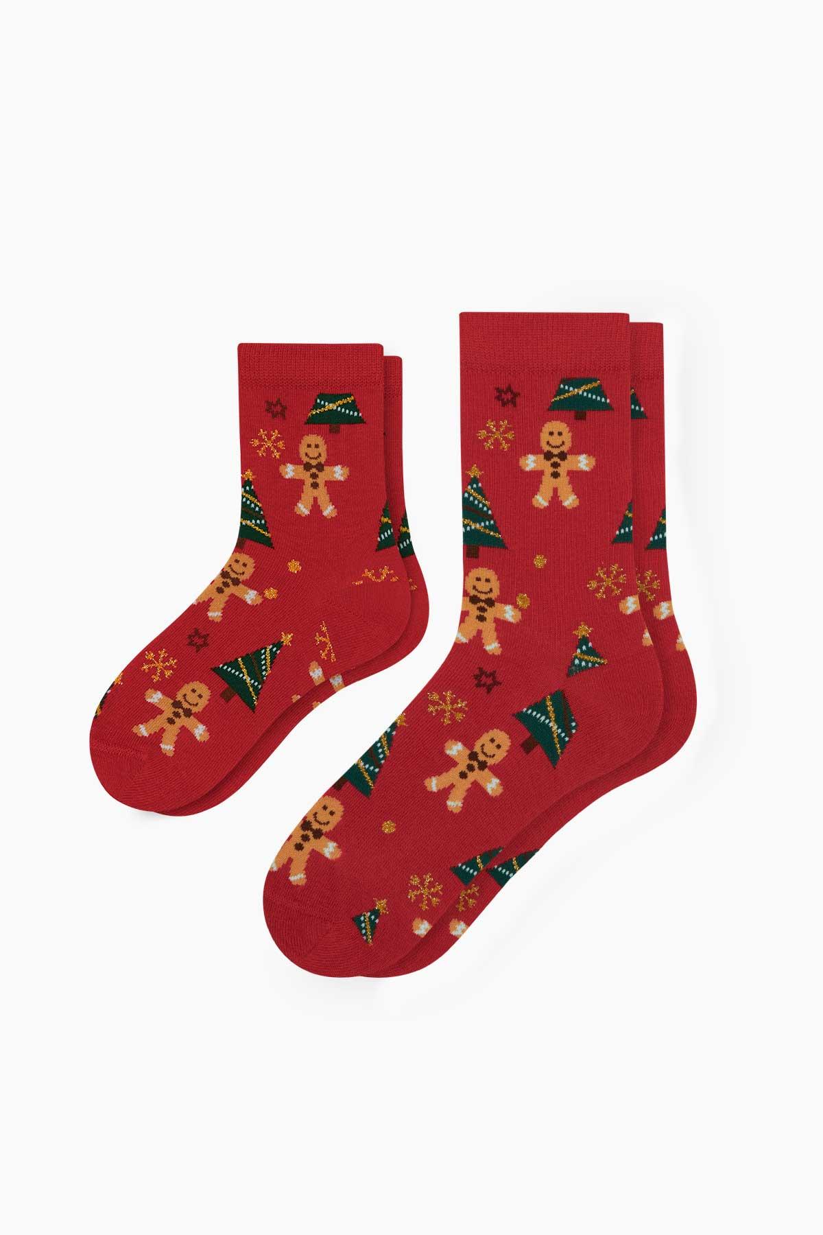 2'li Cookie Desenli Anne Çocuk Çorabı