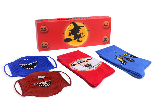 Bross - 2er Pack Halloween gemusterte Socken und Sockenmaske kombinieren -3