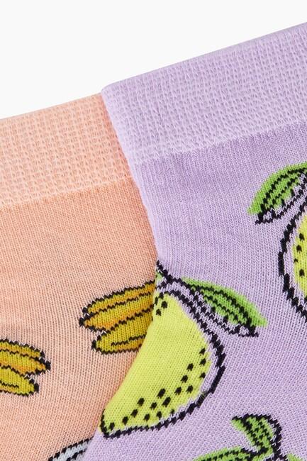Bross 2'li Meyve Desenli Patik Kadın Çorabı - Thumbnail