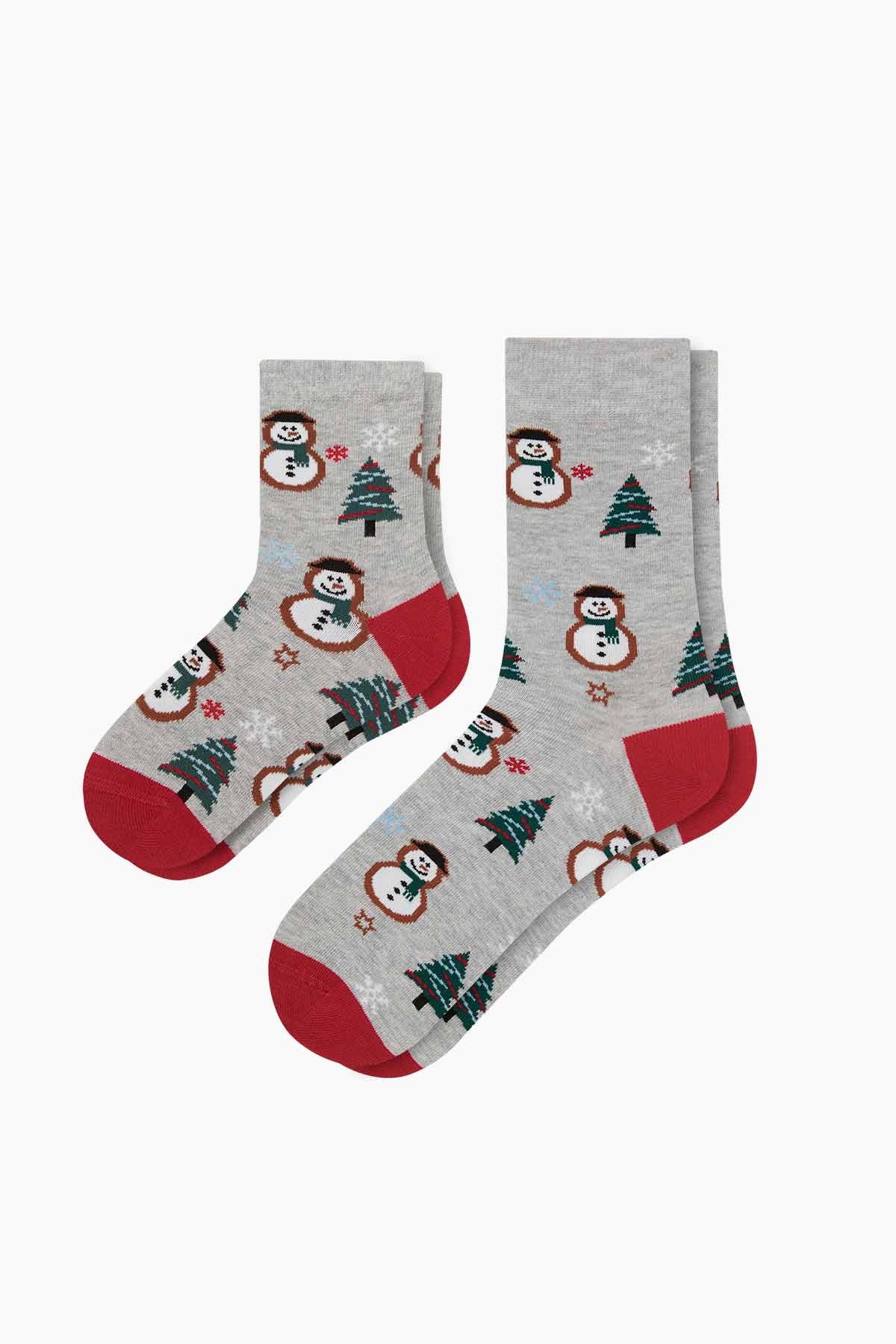 Bross - 2-Pack Snow Man Patterned Father Child Socks