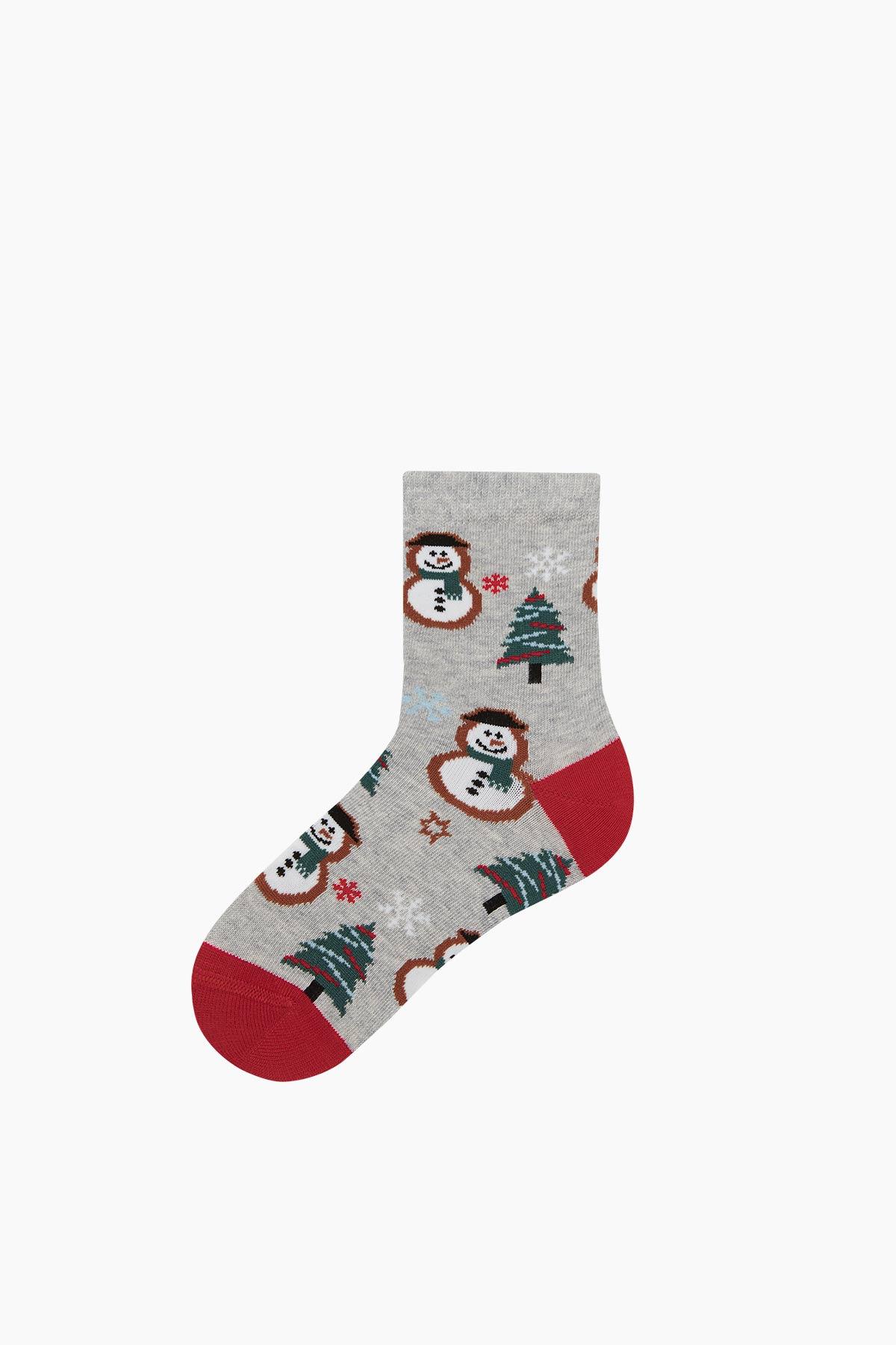 2'li Snow Man Desenli Baba Çocuk Çorabı - Thumbnail