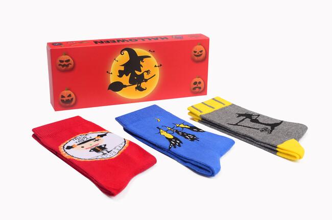 3-Box Halloween Patterned Women's Socks Seven - Thumbnail
