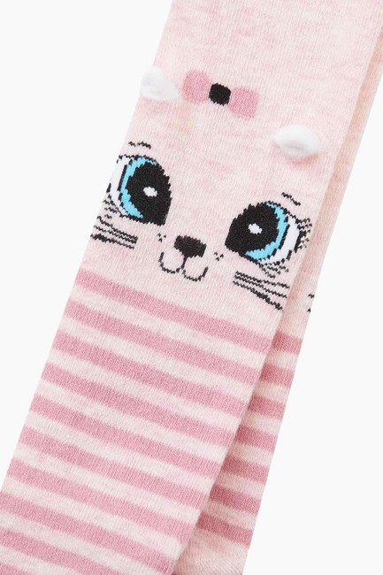 3-d Cat Pattern Ringed Baby Tights - Thumbnail