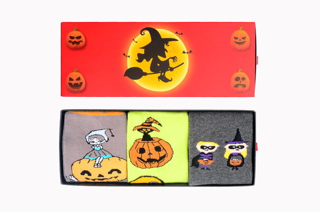 Bross - 3-Pack Box Halloween Patterned Women's Socks Four