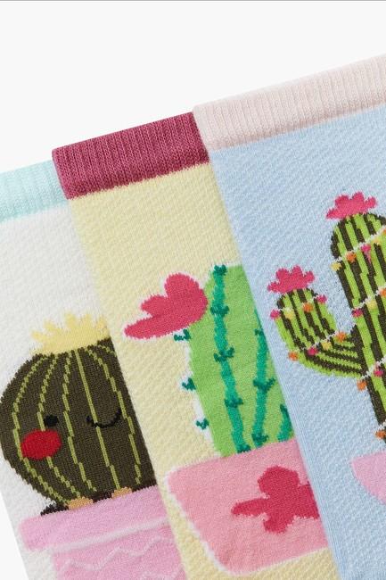 3-pack Cactus Pattern Kids Shaftless Socks - Thumbnail