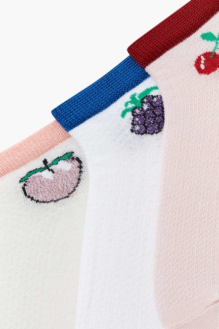 3-pack Fruit Pattern Kids Shaftless Socks - Thumbnail