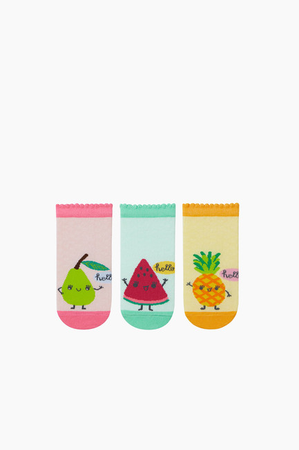 Bross - 3-pack Fruit Pattern Kids Shaftless Socks
