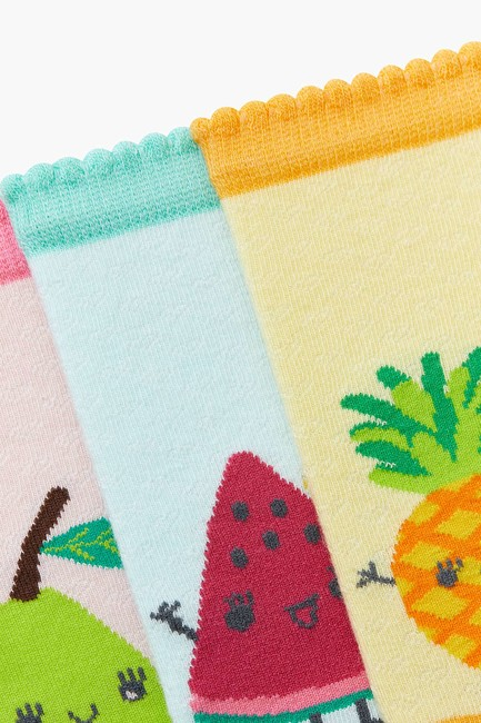 3-pack Fruit Pattern Kids Shaftless Socks - Thumbnail