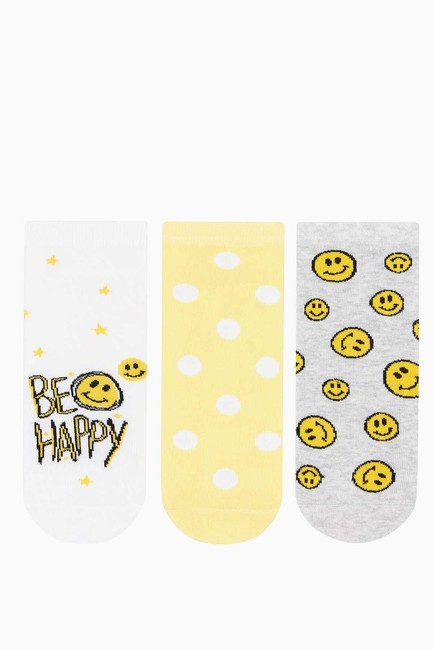 Bross - 3-pack Happy Emoji Pattern Ladies Shaftless Socks