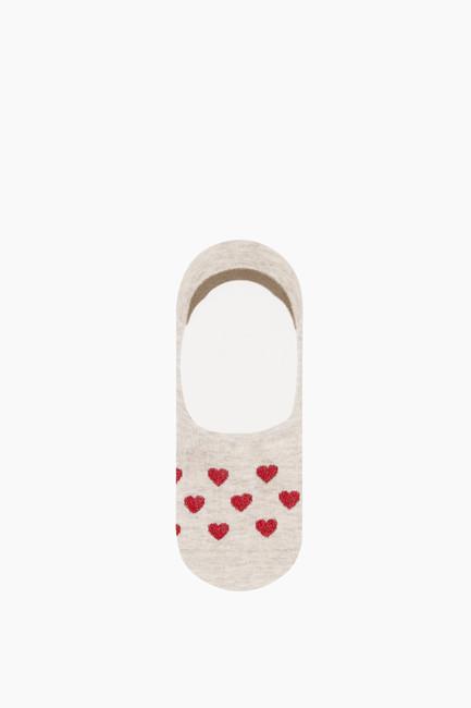 3-pack Heart Pattern Invisible Ladies Socks - Thumbnail