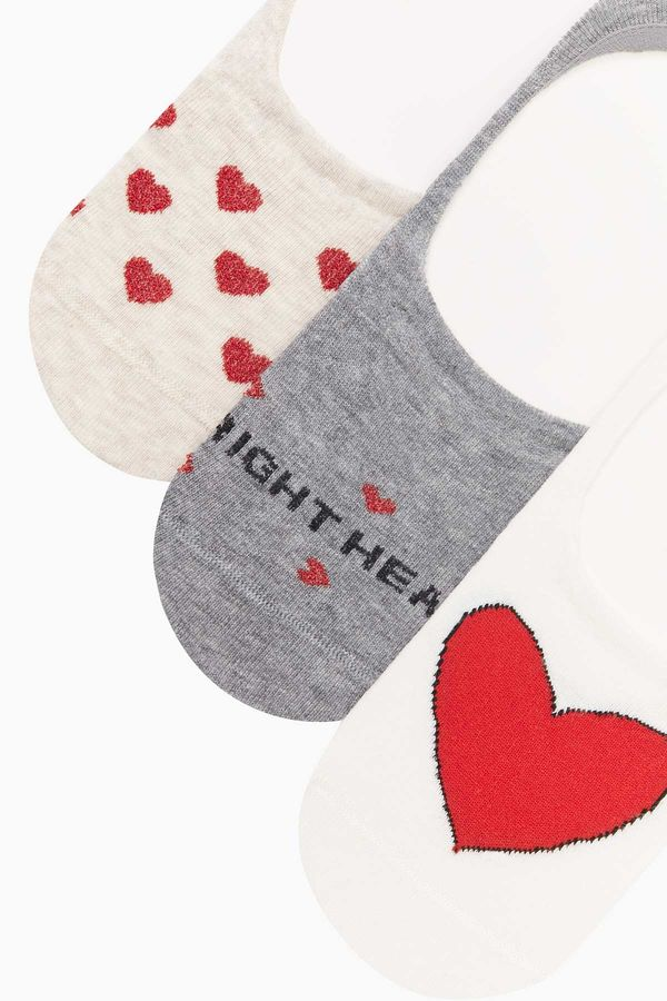3-pack Heart Pattern Invisible Ladies Socks