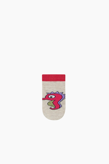 3-Pack Marine Animals Pattern Baby Shaftless Socks - Thumbnail