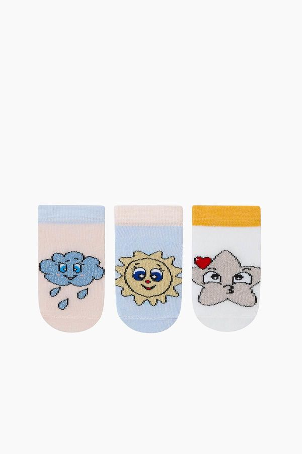 3-Pack Silvery Baby Shaftless Socks