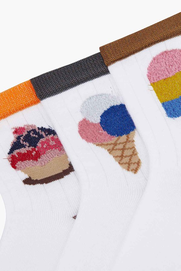 3-pack Silvery Ice Cream Pattern Kids Socks