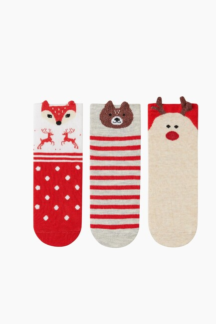 3-Piece 3D Animal Pattern Kids Socks - Thumbnail