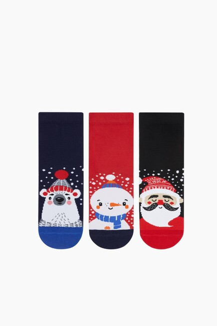 3-Piece Christmas Patterned Kids Socks - Thumbnail