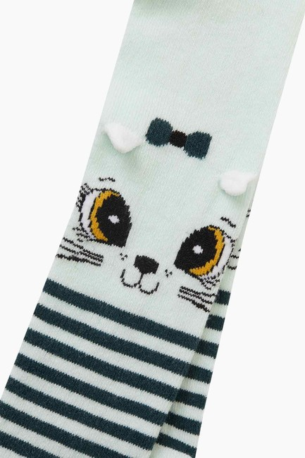 Bross 3D Kedi Desenli Çemberli Külotlu Bebek Çorabı - Thumbnail