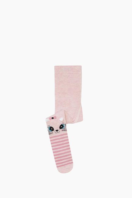 Bross - 3D Kedi Desenli Çemberli Külotlu Bebek Çorabı Pudra