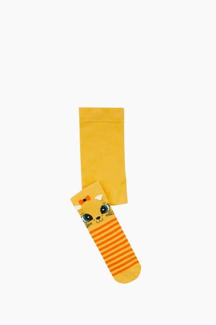 Bross - 3D Kedi Desenli Çemberli Külotlu Bebek Çorabı Sarı