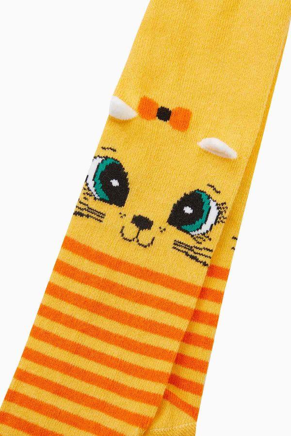 3d Kedi Desenli Çemberli Külotlu Bebek Çorabı