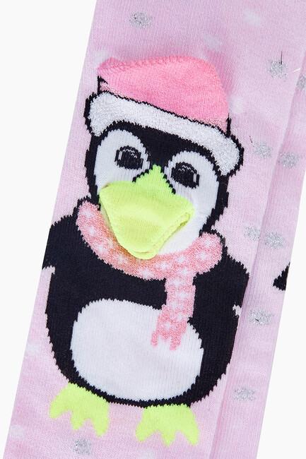3D Peguen Desenli Bebek Külotlu Çorabı - Thumbnail