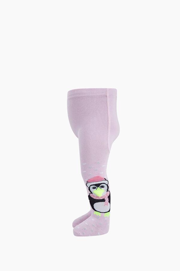 3D Peguen Desenli Bebek Külotlu Çorabı
