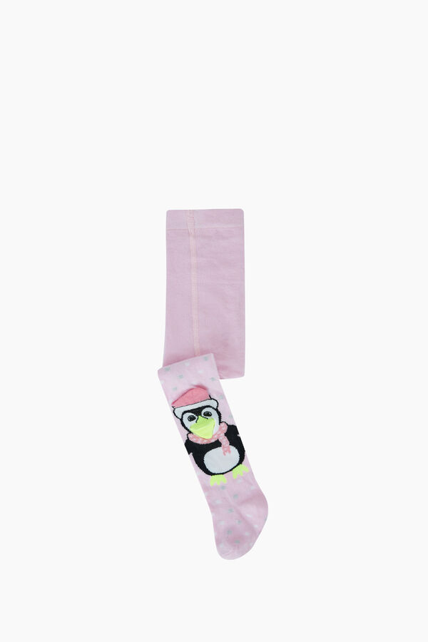 3D Peguen Patterned Baby Tights