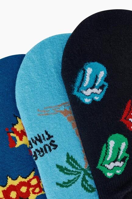 Bross 3'lü Eğlence Desenli Babet Erkek Çorabı - Thumbnail