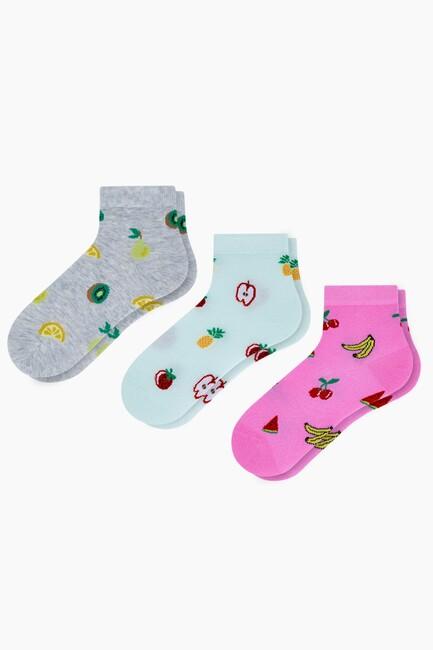 Bross - 3'lü Karışık Meyve Desenli Patik Kadın Çorabı