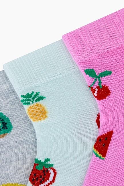 Bross 3'lü Karışık Meyve Desenli Patik Kadın Çorabı - Thumbnail