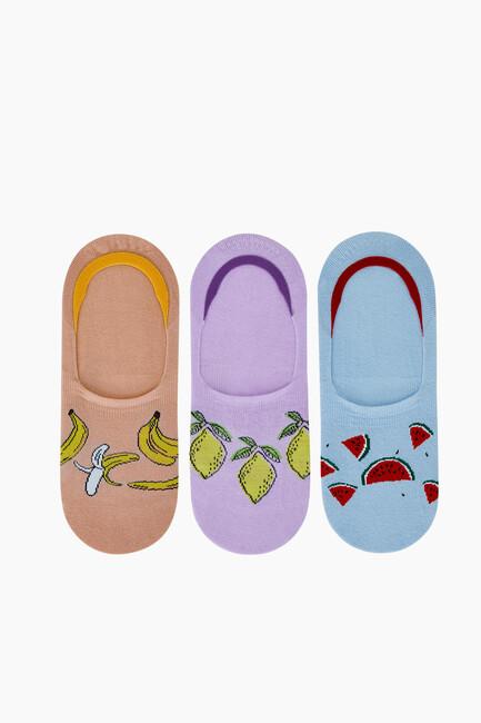 Bross - 3'lü Meyve Desenli Kadın Babet Çorabı